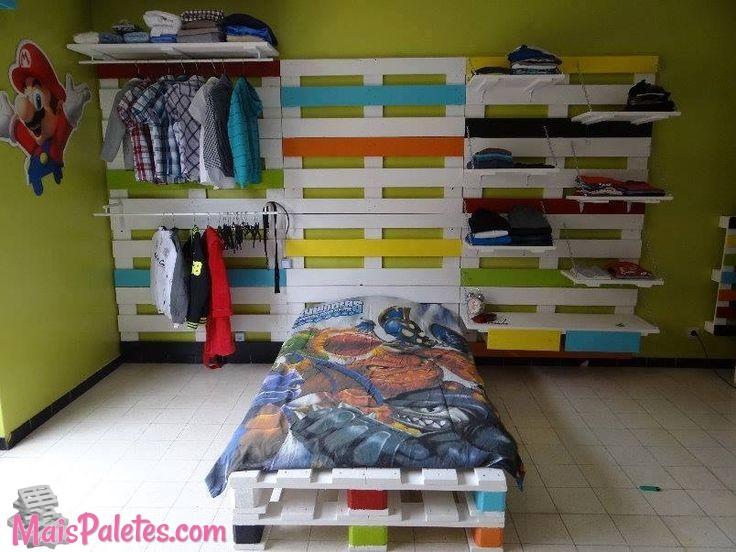 9 ideias de camas de solteiro com paletes - Manualidades con palet ...