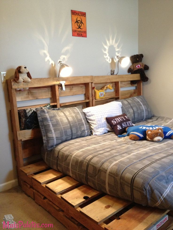 9 camas para crian a feitas com pallets. Black Bedroom Furniture Sets. Home Design Ideas