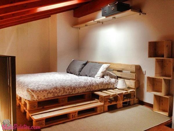 12 Camas e as suas cabeceiras todas feitas com paletes de madeira # Lit En Palette De Bois Avec Lumiere