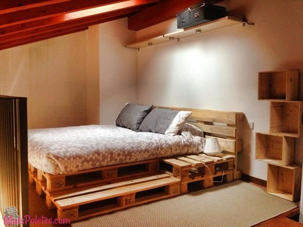 12 camas e as suas cabeceiras todas feitas com paletes de for Chambre en palette