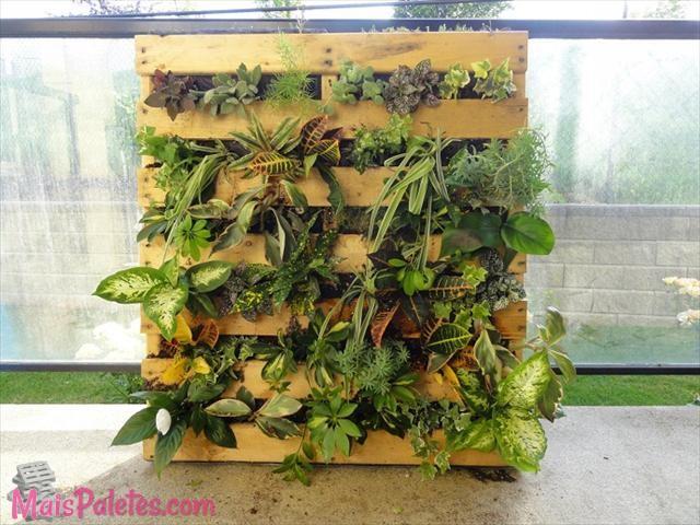12 paletes de madeira que s o jardins verticais for Jardin vertical con palets