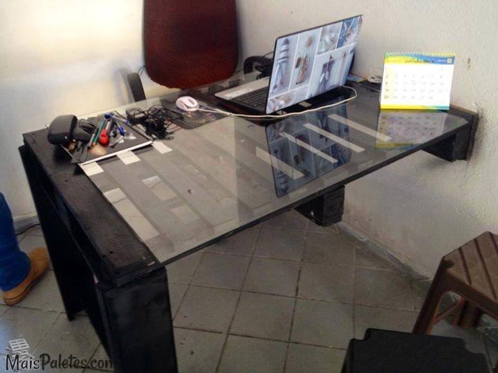 Escrit riom veis de paletes m veis de paletes - Como hacer una mesa escritorio ...
