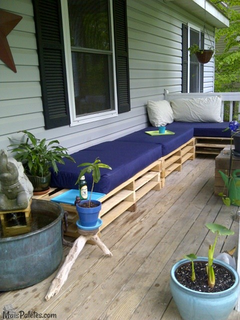 decoracao jardim paletes:Sofás com paletes no exteriorMóveis de Paletes