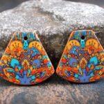 Brincos de argila de polimero colorido amuletos e cabochoes da