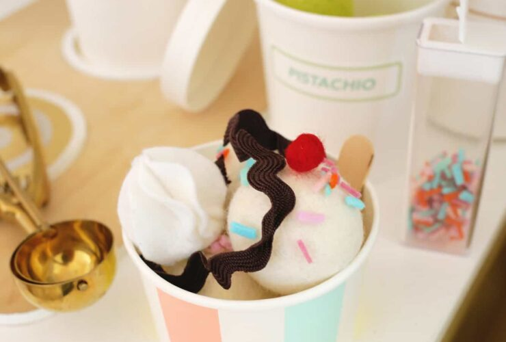 Brinquedo para sundae de sorvete de feltro faca voce mesmo