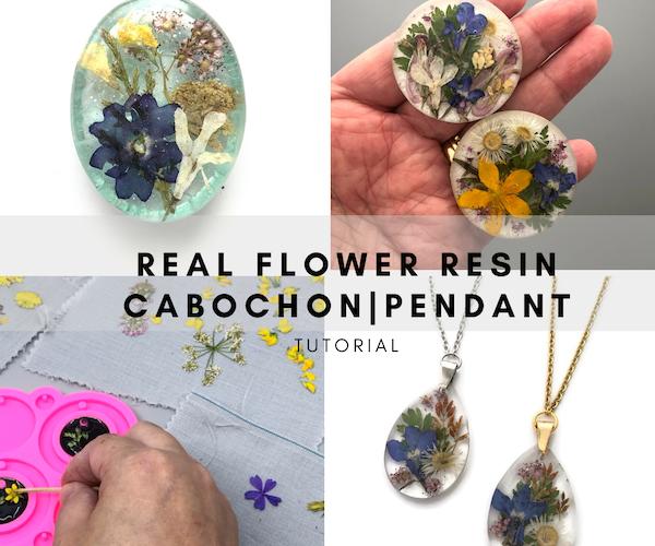 Como fazer cabochoes e pingentes complexos de resina de flor