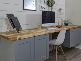 DIY modern floating desk from upper cabinets and butcher block scaled