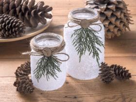 Luminarias de Natal geadas com Faux Snow
