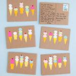 Postais de sorvete de arte com impressao digital