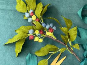 Tutorial Faca Voce Mesmo em Papel Crepe Blueberry Branch