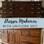 dresser makeover with Unicorn Spit gel stain before and after