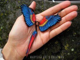Incriveis joias de madeira com arte de passaros e decoracao