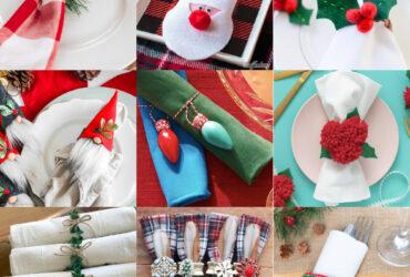 Aneis de guardanapos de Natal para uma mesa festiva de